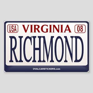 Richmond License Plate Rectangle Sticker