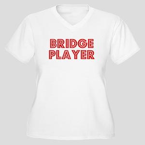 Retro Bridge Player (Red) Women's Plus Size V-Neck