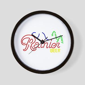 Rainier Beer neon sign 2 Wall Clock