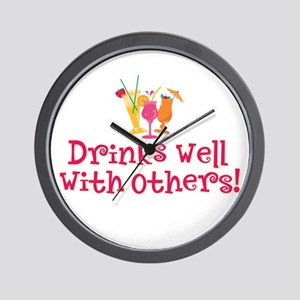 Drinks Well With Others - Wall Clock