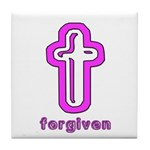 Forgiven Cross Christian Tile Coaster