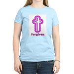 Forgiven Cross Christian Women's Pink T-Shirt
