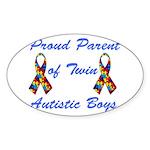 Autistic Twins Oval Sticker (50 pk)