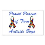 Autistic Twins Rectangle Sticker