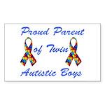 Autistic Twins Rectangle Sticker 50 pk)