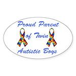 Autistic Twins Oval Sticker (10 pk)