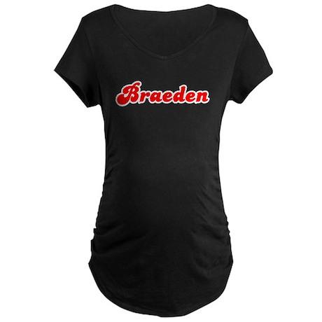 Retro Braeden (Red) Maternity Dark T-Shirt