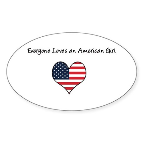 Everyone Loves American Girl Oval Sticker
