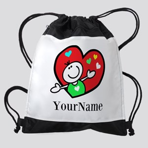 Happy Heart (p) Drawstring Bag