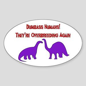 Overbreeding Dinosaurs Oval Sticker