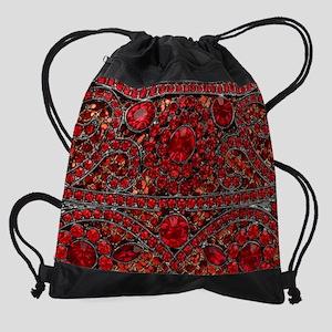 bohemian gothic red rhinestone Drawstring Bag