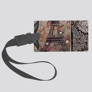 butterfly paris eiffel tower Large Luggage Tag