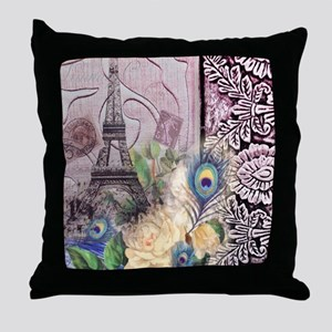 peacock paris eiffel tower Throw Pillow