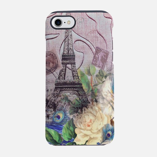 peacock paris eiffel tower iPhone 8/7 Tough Case