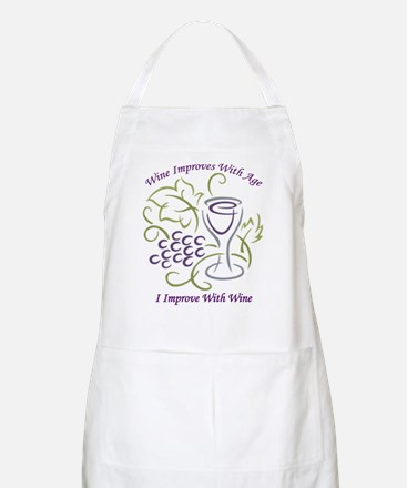 I Improve With Wine BBQ Apron