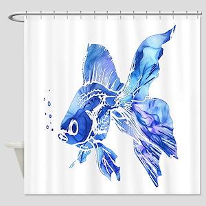 Blue Watercolor Goldfish Shower Curtain