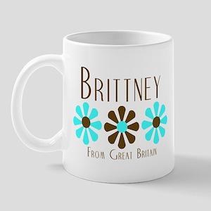 Brittney - Blue/Brown Flowers Mug