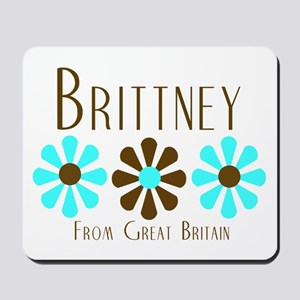 Brittney - Blue/Brown Flowers Mousepad