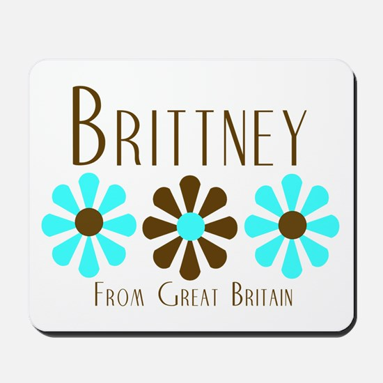 Brittney - Blue/Brown Flowers Mousepad
