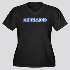 Retro Chicago (Blue) Women's Plus Size V-Neck Dark