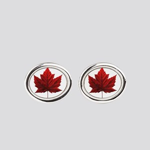 Canada Maple Leaf Souvenir Oval Cufflinks