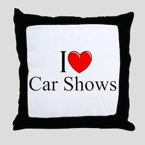 """I Love (Heart) Car Shows"" Throw Pillow"