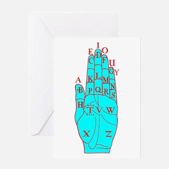 DALGARNO HAND RED BLUE Greeting Card