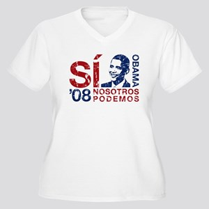 Obama, Si Nosotros Podemos Women's Plus Size V-Nec