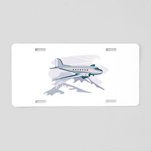 Propeller Airliner Flying R Aluminum License Plate