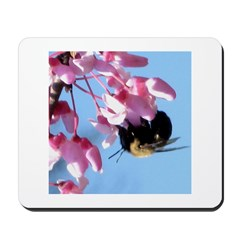Bee dangling from Judas-tree flowers Mousepad