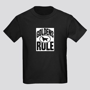 Golden Retrievers Rule Kids Dark T-Shirt