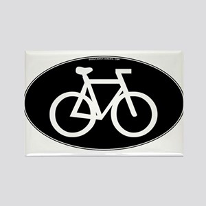 Cycling Oval B&W Rectangle Magnet