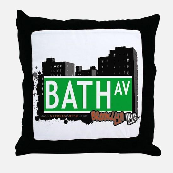 BATH AVENUE, BROOKLYN, NYC Throw Pillow