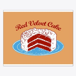 Retro Red Velvet Cake Small Poster