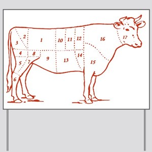 Retro Beef Cut Chart Yard Sign