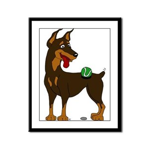 Red Doberman Pinscher Framed Panel Print