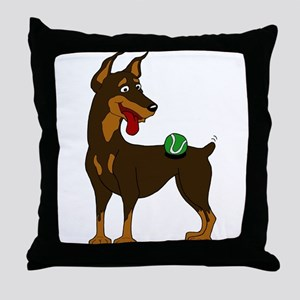 Red Doberman Pinscher Throw Pillow