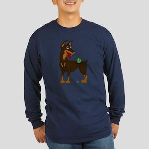 Red Doberman Pinscher Long Sleeve Dark T-Shirt