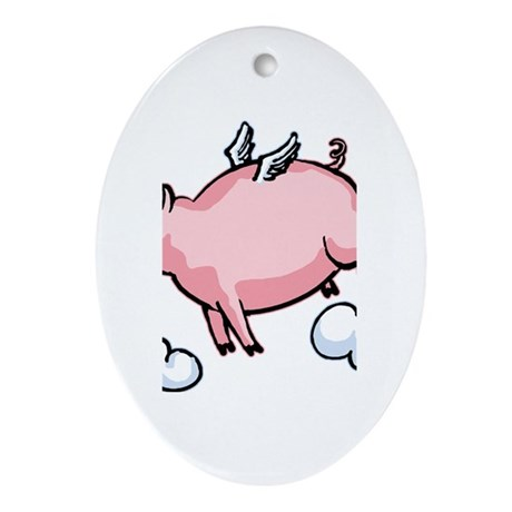 Flying Pig Oval Ornament