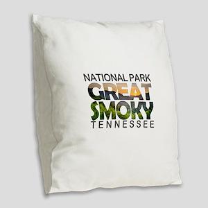 Great Smoky Mountains - Tennes Burlap Throw Pillow