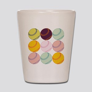 Watercolor Softballs Shot Glass