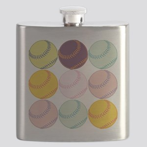 Watercolor Softballs Flask
