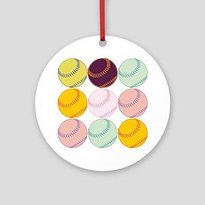 Watercolor Softballs Round Ornament