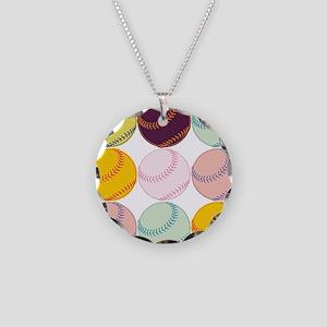 Watercolor Softballs Necklace Circle Charm