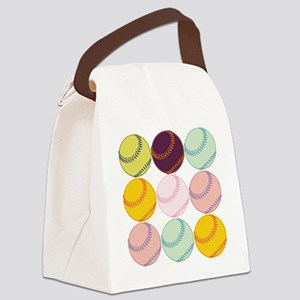 Watercolor Softballs Canvas Lunch Bag