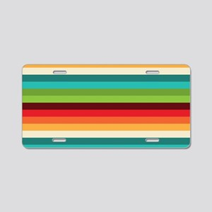 Umsted Design Retro Stripes Aluminum License Plate