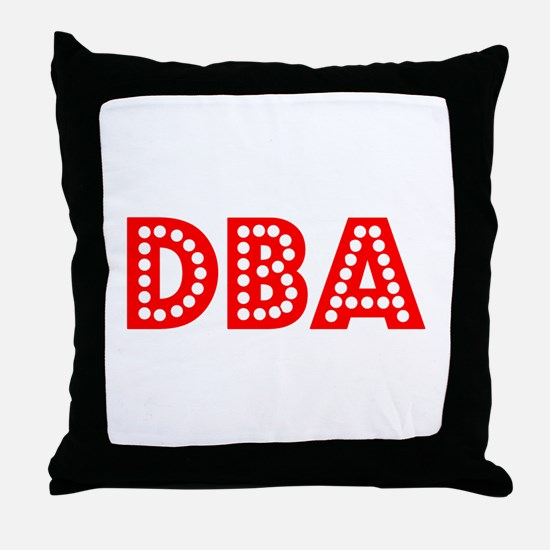 Retro DBA (Red) Throw Pillow