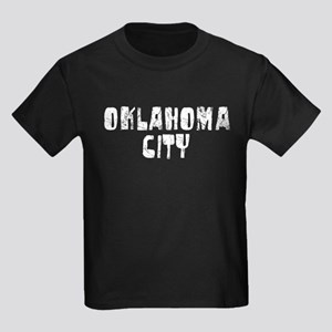 Oklahoma City Faded (Silver) Kids Dark T-Shirt