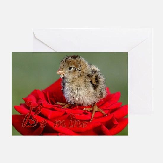 Be Mine Quail Rose Greeting Card