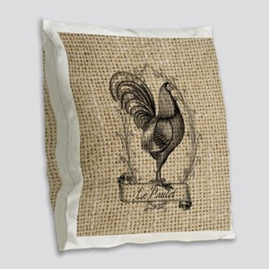 french country rooster burlap Burlap Throw Pillow